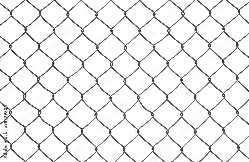 Fototapeta Wire mesh fence isolated on a white background
