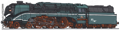 Fotomural Classic steam locomotive, vector illustration