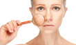Leinwandbild Motiv concept skincare. Skin of woman with magnifier before and after