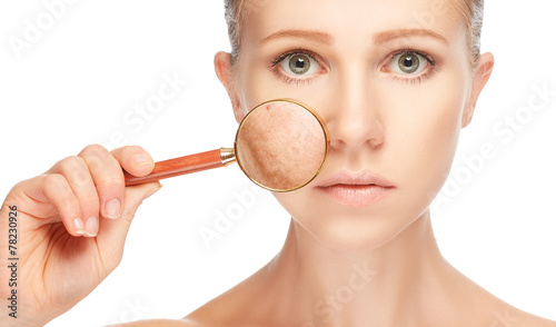 Obraz concept skincare. Skin of woman with magnifier before and after - fototapety do salonu
