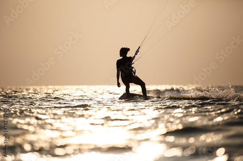 Kitesurfing, kiteboarding in exotic location, tropical island.