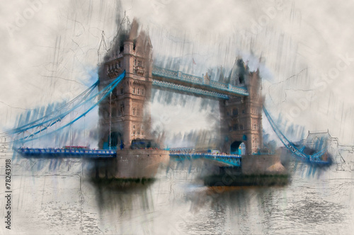 Paint effect vintage view of London Tower Bridge