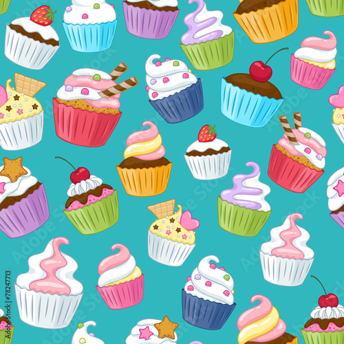 Seamless cupcakes pattern. Colorful background. Poster