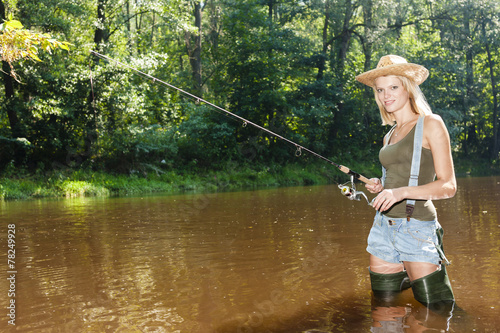 Printed kitchen splashbacks Fishing woman fishing in Jizera river, Czech Republic