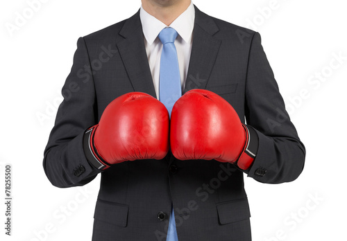 Fototapety, obrazy: businessman in boxing gloves