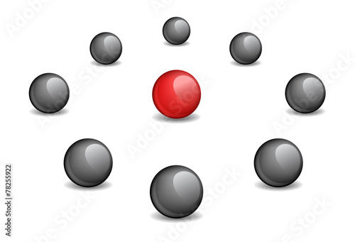 Photo Red sphere surrounded black