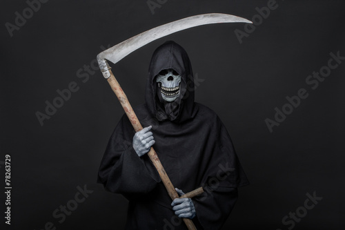 Fotografia, Obraz  Death with scythe standing in the dark. Halloween