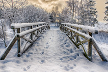 Wooden Bridge, Covered With Sn...
