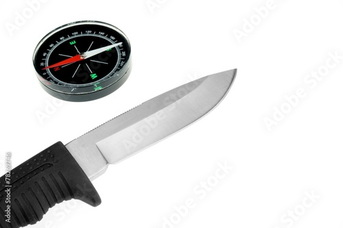 Photo  Army Knife And Compass Isolated