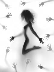 Sylwetka ciała sexy kobieta z wielu rąk wokół