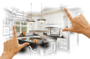 Fototapeta Hands Framing Custom Kitchen Design Drawing and Photo Combinatio
