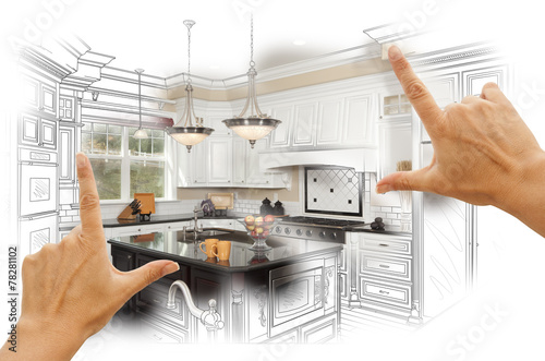 Photo  Hands Framing Custom Kitchen Design Drawing and Photo Combinatio