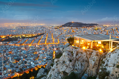 Poster Athens City of Athens as seen from Lycabettus Hill, Greece.