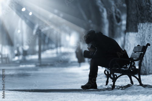 Fotografie, Obraz  Depressed woman on a bench