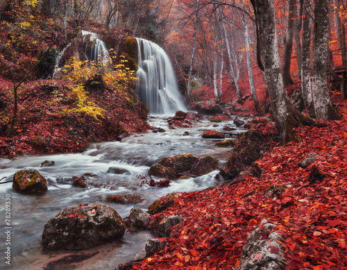 Poster Bordeaux Silver Stream Waterfall (Autumn forest in Crimea)