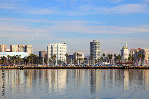 Fotografie, Obraz  Long Beach skyline panorama from Queen Mary in California