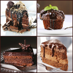 FototapetaCollage of chocolate desserts