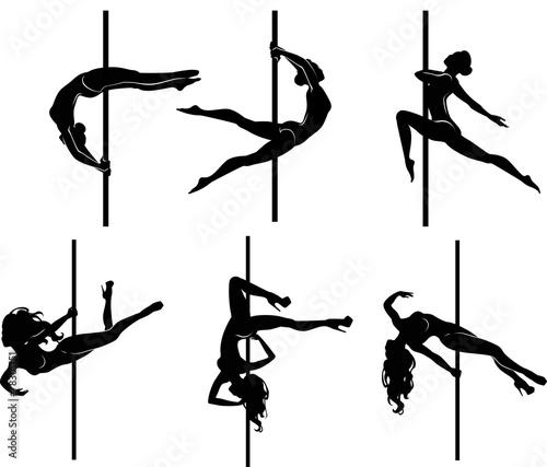 Six pole dancers Wall mural
