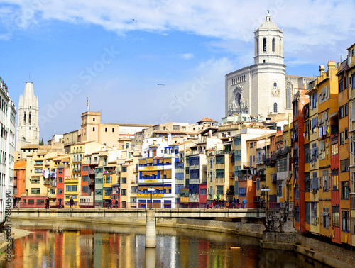 Gerona, Catalonia, Spain: Cathedral and colorful houses