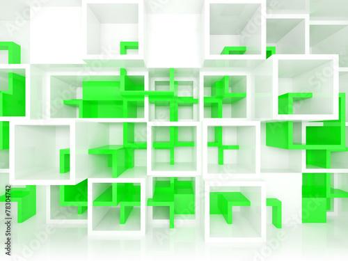 3d projektu tło z białymi i zielonymi chaotycznymi komórkami