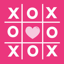 Happy Valentines Day Card , Tic Tac Toe Game ,cross , Heart Sign