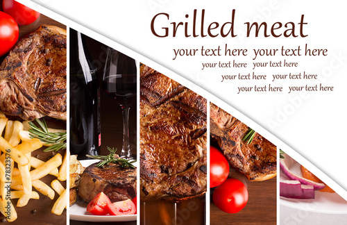Staande foto Vlees Collage from photos of grilled meat
