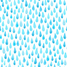 Watercolor Rain Drops, Seamless Background