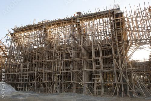 In de dag Stadion Echafaudages en bois à Diego Madagascar