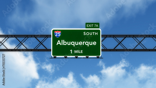 Albuquerque USA Interstate Highway Sign Canvas Print