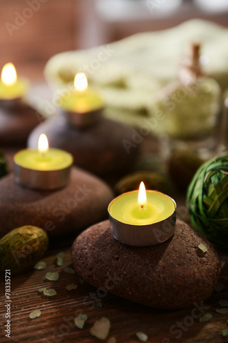 Fototapety, obrazy: Composition of spa treatment on wooden background