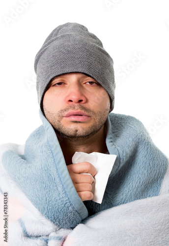 Fotografia  cold sick man with tea in grippe virus ,flu snotty nose