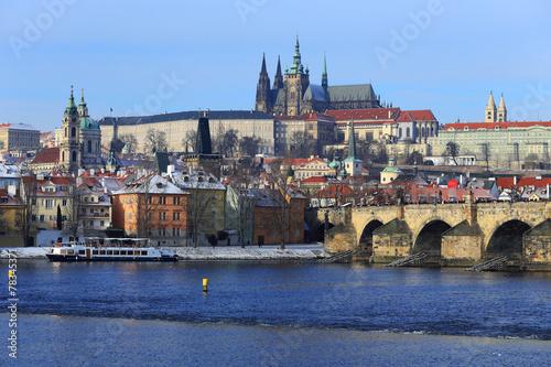 Canvastavla Snowy Prague gothic Castle with Charles Bridge, Czech Republic