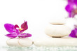 Spa still life with pink orchid and white zen stone