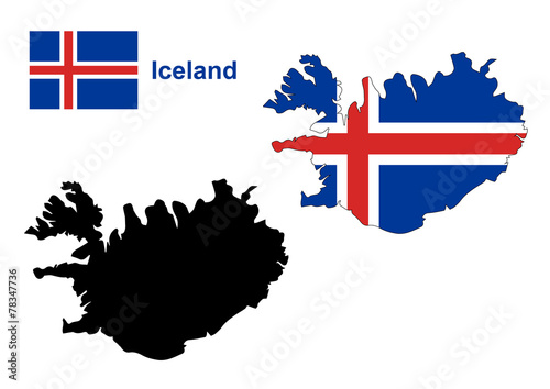 Iceland map vector, Iceland flag vector - Buy this stock vector and ...