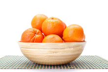 Oranges In Wooden Bowl