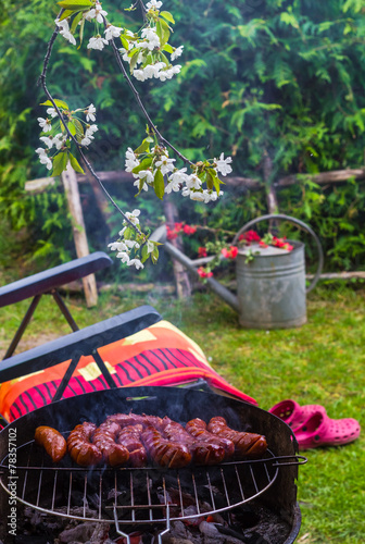 Aluminium Prints Picnic BBQ fried sausages grill