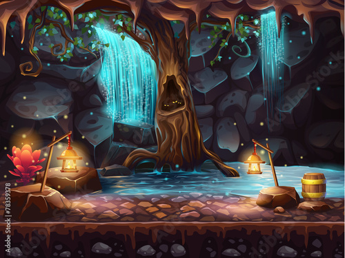 Valokuva  Cave with a waterfall and a magic tree and barrel of gold
