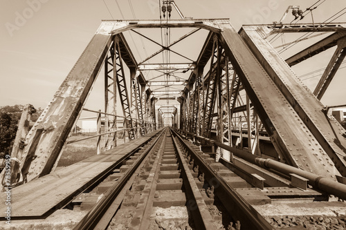 Train Bridge Structure Sepia #78359959