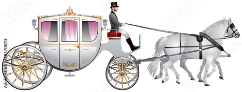 Foto Carriage, horse-drawn white wedding crew