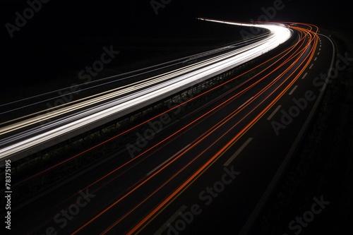 highway with light trails at nightfall #78375195