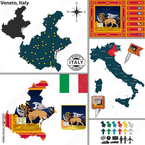 Fotografie, Obraz  Map of Veneto, Italy