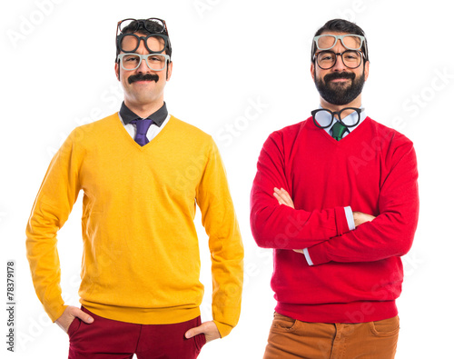 Photo  Twin brothers with glasses