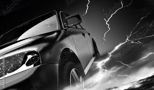samochod-w-trakcie-burzy-z-piorunami-grafika-3d
