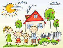 Family Near Their House