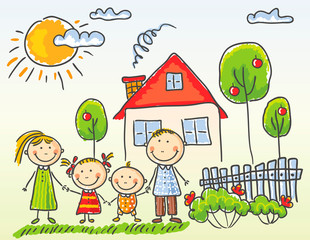 Fototapeta Do przedszkola Family near their house