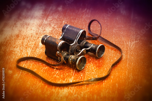 Fotografia  Military binoculars WWII. Victory Day on May 9