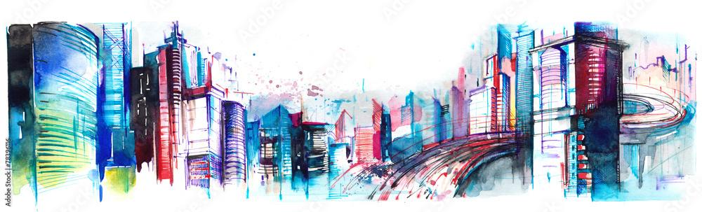 Obraz panorama of  city fototapeta, plakat