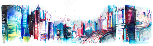 Photo sur Aluminium Peintures panorama of city