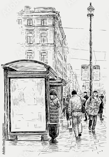 ulica-duzego-miasta-szkic-ilustracja