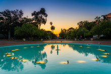 Blue Pool In Balboa Park At Sunset, In San Diego, California.